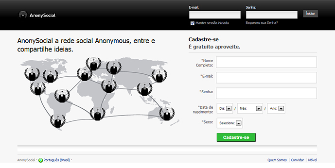 AnonySocial a rede social do grupo Anonymous