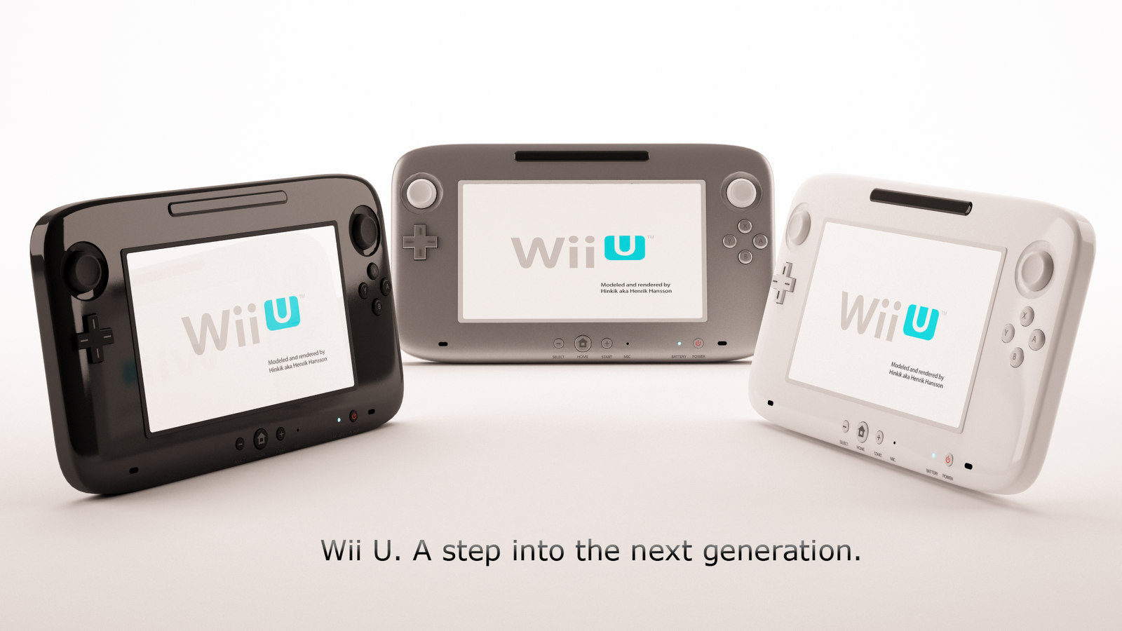 wii u silver black and white render