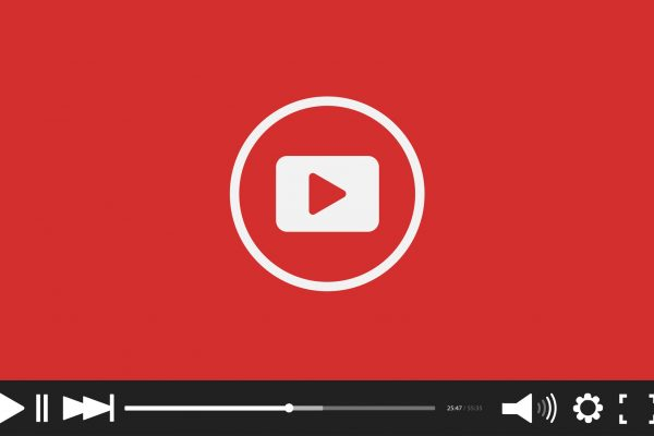 Red flat Video player bar template for your design. Trendy Minimal Flash interface in social style. Modern vector illustration for web site and app
